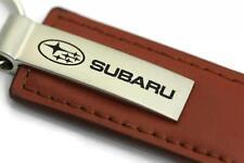 Subaru Leather Key Chain Brown Rectangular Key Ring Fob Lanyard