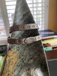 FENDI Metallic Silver Double-Wrap Selleria Leather Bracelet