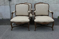 Great Set of 4 Country French Bergere Beech Wood Arm Chairs, New Upholstery