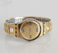 Swatch AG 1991 Golden 25mm erweiterbar Armband Perlen Damen Swiss Watch