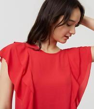 NWT Ann Taylor LOFTRed Cherry Ruffle Flutter blouse Top ruffle XLarge XL