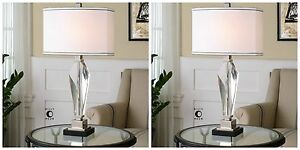 """PAIR MODERN 29"""" THICK CUT CRYSTAL NICKEL ACCENTS TABLE LAMPS"""