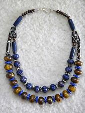 New Ethnic Authentic African Bone Trade Bead Necklace Tribal Folk Art Blue Brown