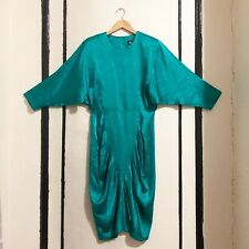 Vintage 1980s All That Jazz Teal Satin Dress 1940s Style