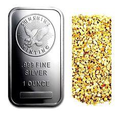 1 OUNCE .999 SILVER SUNSHINE MINTING BAR BU + 10 PIECE ALASKAN PURE GOLD NUGGETS