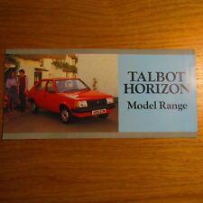 Talbot Horizon le 1.1 ls 1.3 1.5 Auto LD 1.9 GL Reino Unido Folleto De Gama Modelo 1984 de octubre