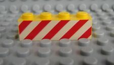 LEGO Yellow Brick 1 x 4 with Red Danger Stripes on Printed White Background