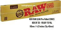 "BOX of 20 RAW Rolling Papers New LEAN Pre-Rolled Cigarette Cones 110mm/4.3"" long"