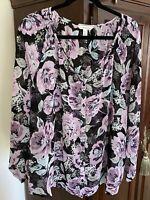 1X - Croft & Barrow Woman Orchid/Black/Gray Floral Long Sleeve Blouse
