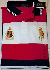 New Men's Polo Ralph Lauren Gold Big Pony & Shield Mesh Striped Polo Shirt 3XLT