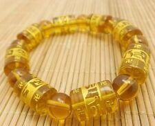Tibetan Yellow Synthetic crystal Bead carve om mani padme hum Amulet Bracelet