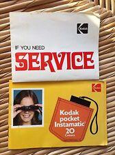 Kodak Pocket Instamatic 20 Camera Owners Manual amd Service Book