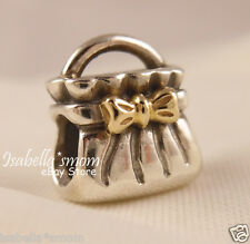 RETIRED 2 Tone BOW PURSE Authentic PANDORA Silver/14K GOLD Bag Charm~Bead NEW