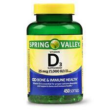 Spring Valley Vitamin D3 Softgels, 1000 IU, 450 Count