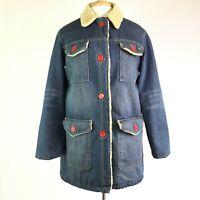 Marc Jacobs Womens Denim Shearling Lining Jacket Coat/ Pockets/ Red Snaps Sz M
