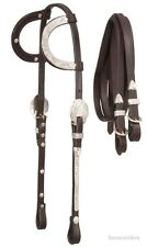 Silver Show Headstall-Bridle - Dark Oil Leather - Double Ear - Split Show Reins