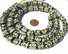 Ghana African Matched Black with Pinapple design Recycled glass trade beads