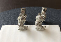 Vtg Judy Lee Cuff Links - Silver Tone Googly Eyed Dogs