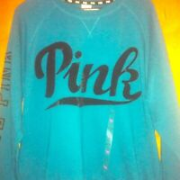 Pink Victoria's Secret Teal Sweatshirt Large Love Black Blue Size L NWT