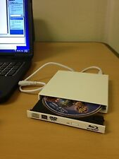 White USB External Blu Ray Combo Drive - CD/DVD Burner - 2x BD Player - PC/Mac
