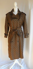 Vintage Satin Trench Raincoat Jacket Polka Dots Thinsulate Shimmer Copper M L