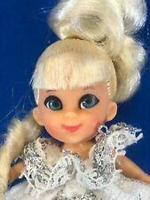 Rare vtg Liddle Kiddles Cinderella, platinum hair w/gown, rags, glass slipper+