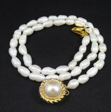 Vintage Sterling Silver Rice Pearl Necklace 17.25 inches Gold Plated Clasp