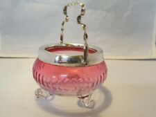 ANTIQUE GLASS SILVER PLATE BOWL / DISH SWING HANDLE George Ernest Hawkins w
