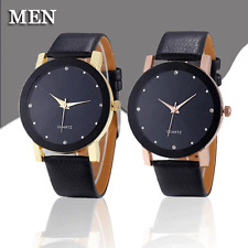 Luxury Men's Quartz Sports Watches Stainless Steel Dial Leather Band Wrist Watch