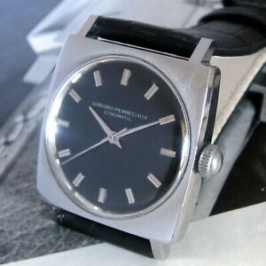 Mens 1950s Girard-Perregaux GYROMATIC Stainless Steel 17j Swiss Black Dial Watch
