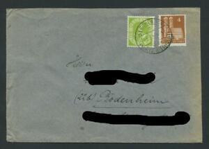 BRD 123 & Bizone 74 eg, Brief von GLESCHENDORF nach BODENHEIM #m241