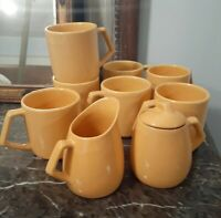 10 Piece Set Yellow Stoneware Mugs Creamer Sugar La Solana Mid Century Modern