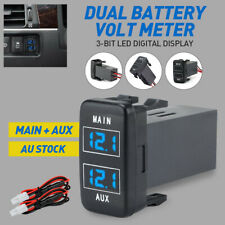 Blue Dual Battery Volt Display Meter for Toyota Prado 120 FJ Cruiser 2010-on 12V