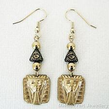 Eye of the Pharaoh Egyptian Black Gold Glass Pyramid Earrings Gold Plate Brass