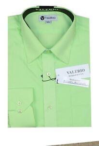 Men's DRESS SHIRT Modern Fit Oversized Solid Long Sleeve Button Down Size 15-18