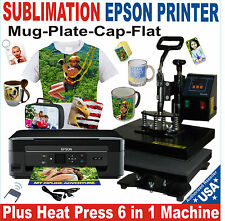 6 IN 1 COMBO HEAT PRESS  T-SHIRT HAT MUG START UP KIT Plus PRINTER EPSON
