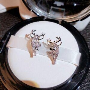 Christmas Elk Crystal 925 Silver Earrings Women Ear Stud Xmas Jewelry Gifts Hot