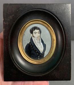 Antique 19thC Miniature REGENCY Era GENTLEMAN PORTRAIT Old PAINTING Frame