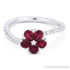 Pave 18k White Gold Right-Hand Flower Ring 1.14 ct Pear-Shape Red Ruby & Diamond