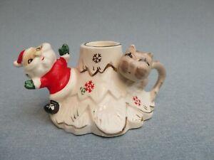 Vintage Santa & Cat Christmas Candlestick Holder With Finger Loop