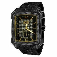 Men's New Black Gold  & Yellow Tone A++ Cz Rectangular Ice Master Wrist Watch