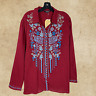 Plus Size Boho ANDREE BY UNIT Embroidered Wine Tunic Top Long Sleeve 1X 2X 3X