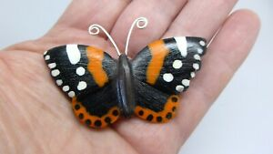 Butterfly brooch Red Admiral unique realistic handmade resin pin gift box