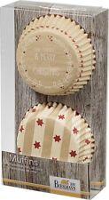 48 Muffinförmchen Cupcake Papierförmchen Weihnachten Sterne Chrismas Braun
