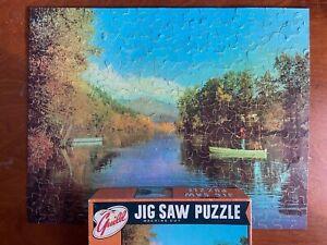 Vtg Jigsaw Puzzle Guild 304 Pc St. Joe River Michigan Fishing Dog Complete R3