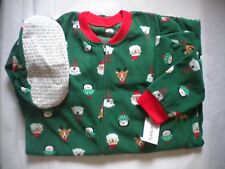 NWT Carters Boys Size 14 Fleece Footed Feety Feet Pajamas Christmas pattern