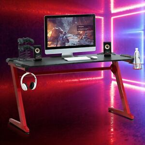 Computer Desk Gaming Desk Writing Table w/cup holder Headphone hook Red/Black