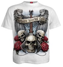 SPIRAL DIRECT UNSPOKEN WHITE T-Shirt/Riders/Skull/Biker/Tattoo/Metal/Rock/Top