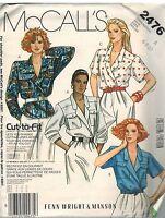 2476 UNCUT Vintage McCalls Sewing Pattern Misses Loose Fitting Shirt 6 - 10 OOP