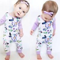 Newborn Baby Girl Floral Cotton Romper Bodysuit Jumpsuit Playsuit Clothes Outfit